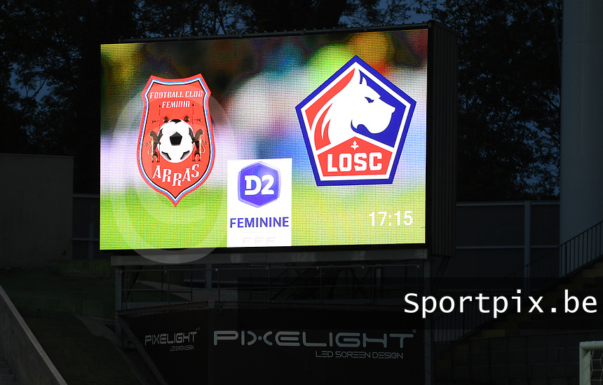 20191102 - LENS , FRANCE : LED Boarding pictured during the female soccer match between Arras Feminin and Lille OSC feminin, on the 8th matchday in the French Women's Ligue 2 – D2 at the Stade Bollaert Delelis stadium , Lens . Saturday 2 November 2019 PHOTO DAVID CATRY | SPORTPIX.BE