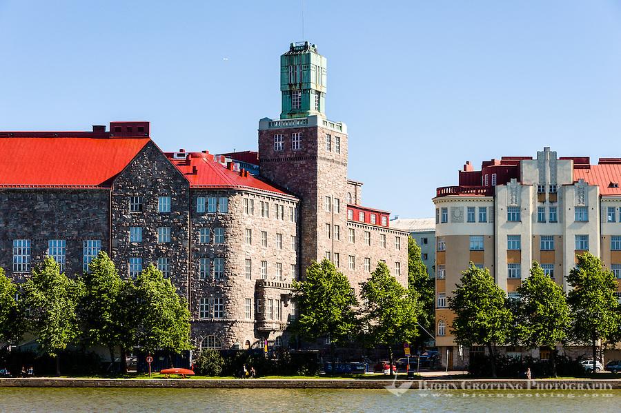 Finland, Helsinki. Old building at  Eläintarhanlahti bay.