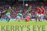 Kieran Donaghy Kerry  in action against Ruairi Deane Cork in the Munster Senior Football Final at Fitzgerald Stadium on Sunday.