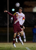 Jake Pace (20) of Maryland goes up for a header with Ryan Dunn (3) of Boston College during the ACC tournament quarterfinals at Ludwig Field in College Park, MD.  Maryland defeated Boston College, 2-0.