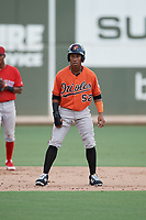 Baltimore Orioles shortstop Jean Carmona (52) leads off second base during a Florida Instructional League game against the Boston Red Sox on September 21, 2018 at JetBlue Park in Fort Myers, Florida.  (Mike Janes/Four Seam Images)
