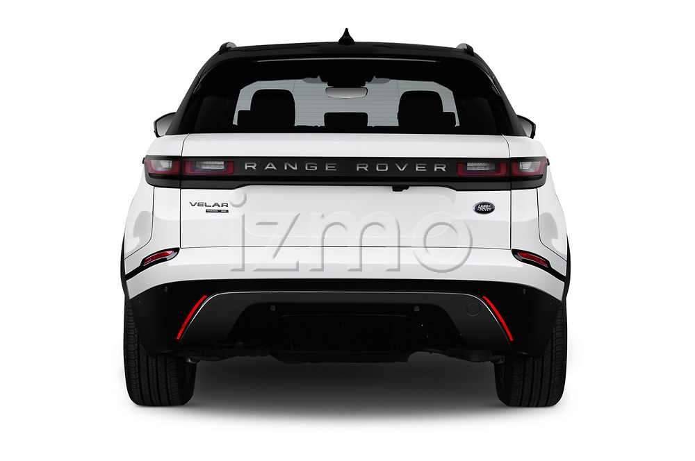 Straight rear view of a 2018 Land Rover Range Rover Velar R-Dynamic SE 5 Door SUV stock images