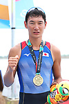Ryuta Arakawa (JPN), <br /> AUGUST 23, 2018 - Rowing : <br /> Men's Single Sculls Medal ceremony<br /> at Jakabaring Sport Center Lake <br /> during the 2018 Jakarta Palembang Asian Games <br /> in Palembang, Indonesia. <br /> (Photo by Yohei Osada/AFLO SPORT)