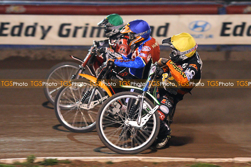 Heat 8: Risager (green), Nieminen (blue) and Klindt - Lakeside Hammers vs Wolverhampton Wolves - Sky Sports Elite League Speedway at Arena Essex, Purfleet - 17/09/08 - MANDATORY CREDIT: Gavin Ellis/TGSPHOTO - Self billing applies where appropriate - 0845 094 6026 - contact@tgsphoto.co.uk - NO UNPAID USE.