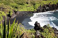 Black sand beach at Waianapanapa State Park, Maui