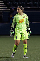 Rochester, NY - Friday April 29, 2016: Western New York Flash goalkeeper Sabrina D'Angelo (1). The Washington Spirit defeated the Western New York Flash 3-0 during a National Women's Soccer League (NWSL) match at Sahlen's Stadium.