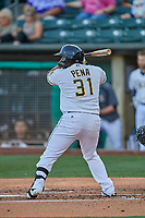 Roberto Pena (31) of the Salt Lake Bees at bat against the El Paso Chihuahuas at Smith's Ballpark on August 17, 2019 in Salt Lake City, Utah. The Bees defeated the Chihuahuas 5-4. (Stephen Smith/Four Seam Images)