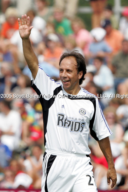 29 August 2005: Newly elected Hall of Famer and Colorado head coach Fernando Clavijo acknowledges the cheers of the crowd following his first half goal. The Colorado Rapids defeated DC United 6-2 at At-A-Glance Field in Oneonta, New York in the 2005 Hall of Fame Game..