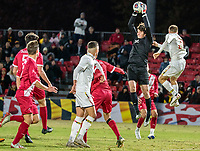 COLLEGE PARK, MD - NOVEMBER 15: Roman Celentano #32 of Indiana makes a save during a game between Indiana University and University of Maryland at Ludwig Field on November 15, 2019 in College Park, Maryland.