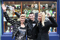 13/10/2010. Crystal Swing Busking. Mary Murray, Derek and Dervla Burke from Cork band Crystal Swing before they launch the busking contest outside the Gaiety Theatre, Dublin for the Mooney radio show on RTE. Picture James Horan/Collins Photos
