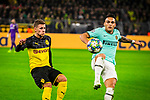 05.11.2019, Signal Iduna Park, Dortmund , GER, Champions League, Gruppenphase, Borussia Dortmund vs Inter Mailand, UEFA REGULATIONS PROHIBIT ANY USE OF PHOTOGRAPHS AS IMAGE SEQUENCES AND/OR QUASI-VIDEO<br /> <br /> im Bild | picture shows:<br /> Duell zwischen Thorgan Hazard (Borussia Dortmund #23) und Alexis Sanchez (Inter #7), <br /> <br /> Foto © nordphoto / Rauch