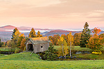 The A. M. Foster Covered Bridge at sunrise in Cabot Plains, Cabot, Vermont, USA