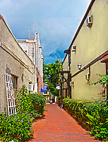 Artillery Lane is in the heart of historic downtown St. Augustine, Florida. This portion of Artillery Lane is located between Aviles Street and Charlotte Street.