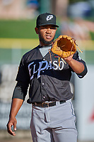 El Paso Chihuahuas starting pitcher Emmanuel Ramirez (40) warms up in the bullpen before the game against the Salt Lake Bees at Smith's Ballpark on August 17, 2019 in Salt Lake City, Utah. The Bees defeated the Chihuahuas 5-4. (Stephen Smith/Four Seam Images)