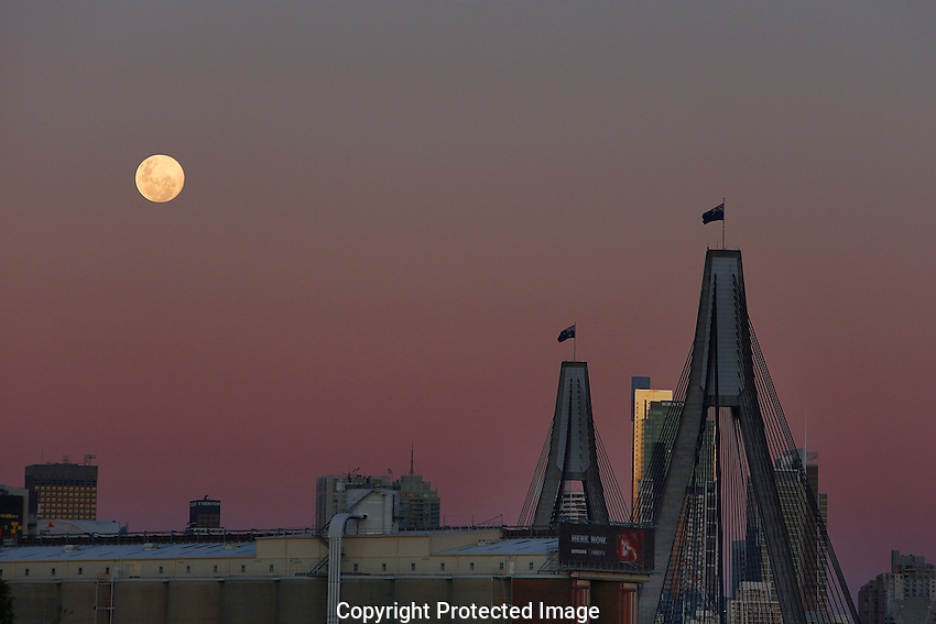 Moon over the ANZAC Bridge on Wednesday 1st July, 2015. Photo:(Steve Christo)