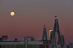 Moon over the ANZAC Bridge on Wednesday 1st July, 2015. Photo:(Steve Christo)