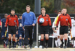 02 December 2007: Match referee Andrew Chapin (with ball) with Assistant Referee James Conlin, Assistant Referee Robert Ellyson, and Alternate Official Daniel Fitzgerald. The Wake Forest University Demon Deacons defeated the West Virginia University Mountaineers 3-1 at W. Dennie Spry Soccer Stadium in Winston-Salem, North Carolina in a Third Round NCAA Division I Mens Soccer Tournament game.