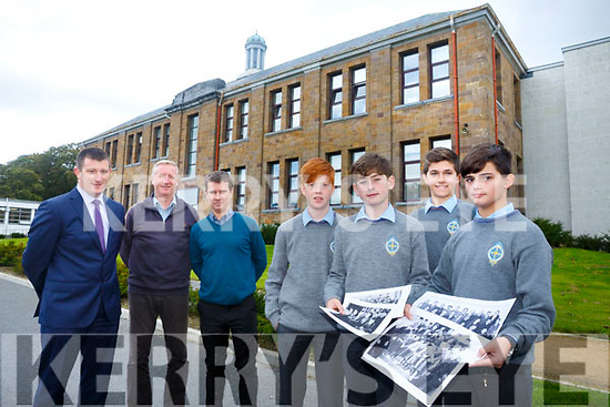 St. Mary's CBS the Green Celebrating 90 years on the 6th October at 1pm Pictured with old pictures are students Tom Brett, Gavin Parker, Tommy Burns and Altin Neziri  with Teachers and past Pupils Robert Flaherty, Deputy Principal, Damien McLoughlin and Tim McMahon