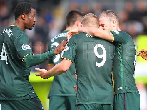 27.09.2014.  Glasgow, Scotland. Scottish Premier League. St Mirren versus Celtic. John Guidetti celebrates the opening goal for Celtic