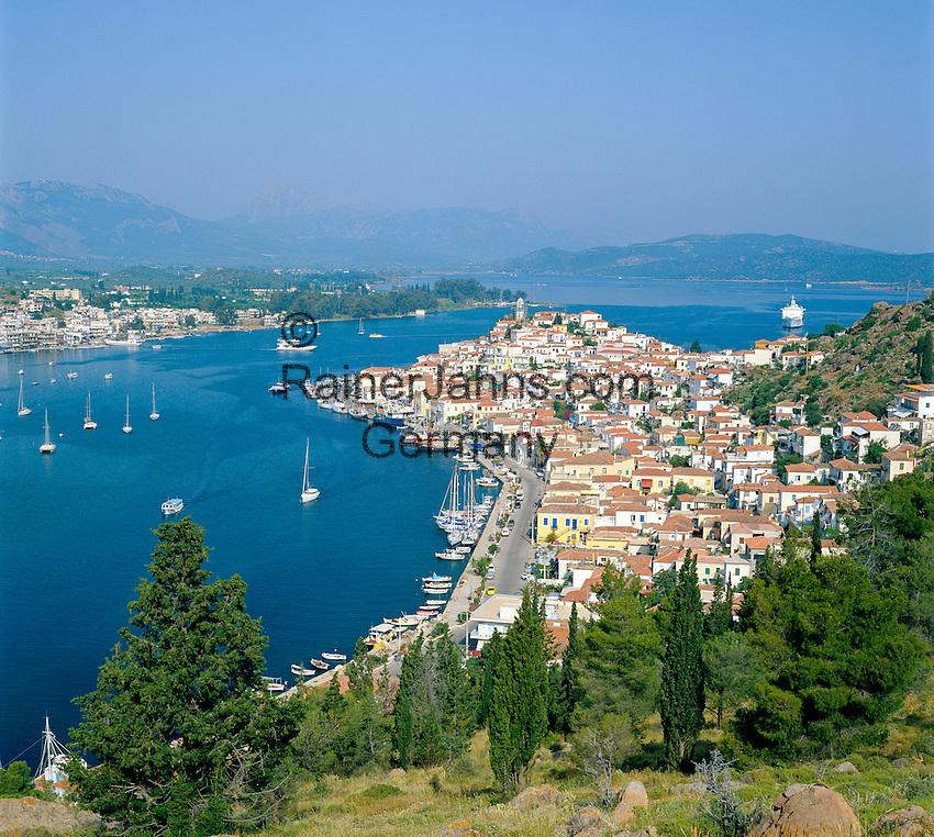 Greece, Attica, Saronic Islands, Island Poros: View over Poros-Town and harbour   Griechenland, Attika, Saronischen Inseln, Insel Poros: Die Stadt Poros mit Hafen