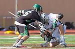 La Canada Flintridge, CA 03/16/13 - Trent Schulte (Coronado #6) and Brook Rideau (De La Salle #3) in action during the De La Salle vs Coronado lacrosse game at St Francis High School.  De La Salle defeated Coronado 8-5.