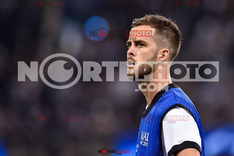 Miralem Pjanic of Juventus warms up during the UEFA Champions League Final match between Real Madrid and Juventus at the National Stadium of Wales, Cardiff, Wales on 3 June 2017. Photo by Giuseppe Maffia.<br /> <br /> Giuseppe Maffia/UK Sports Pics Ltd/Alterphotos /NortePhoto.com * /nortephoto.com