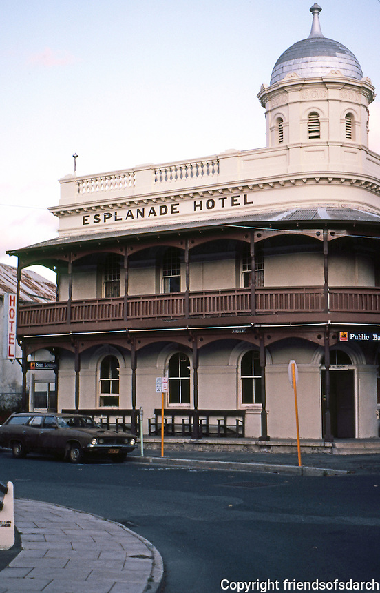 "Fremantle: Esplanade Hotel, 1897. ""The only hotel in Fremantle to retain its verandahs and tower"". Photo '82."