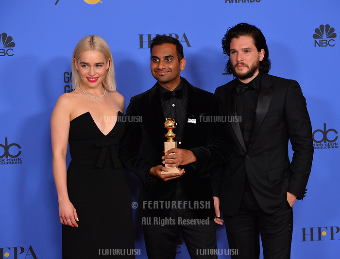 Emilia Clarke, Aziz Ansari &amp; Kit Harington at the 75th Annual Golden Globe Awards at the Beverly Hilton Hotel, Beverly Hills, USA 07 Jan. 2018<br /> Picture: Paul Smith/Featureflash/SilverHub 0208 004 5359 sales@silverhubmedia.com