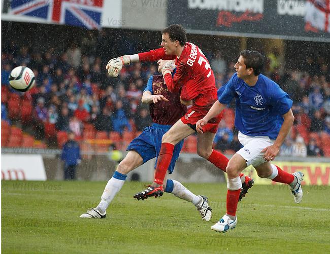 Alejandro Bedoya lobs Linfield keeper Ross Glendenning to open the scoring for Rangers