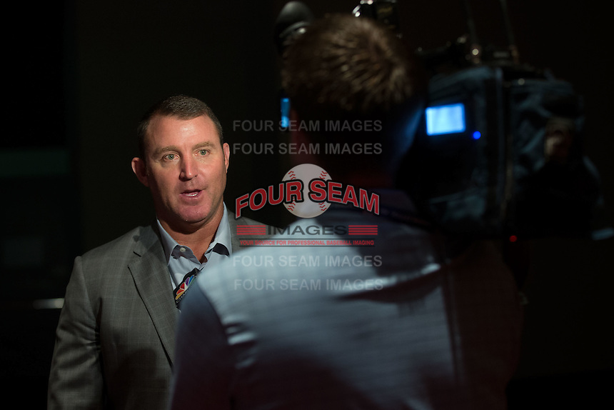 Jim Thome is interviewed by a TV reporter at the Triple-A All-Star Game Luncheon at the Charlotte Convention Center on July 12, 2016 in Charlotte, North Carolina.  Thome was inducted into the Charlotte Baseball Roundtable of Honor along with former Charlotte Knights manager Charlie Manuel (not pictured).   (Brian Westerholt/Four Seam Images)