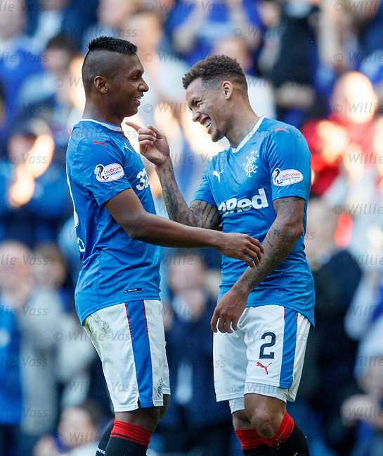 James Tavernier celebrates his goal with Alfredo Morelos