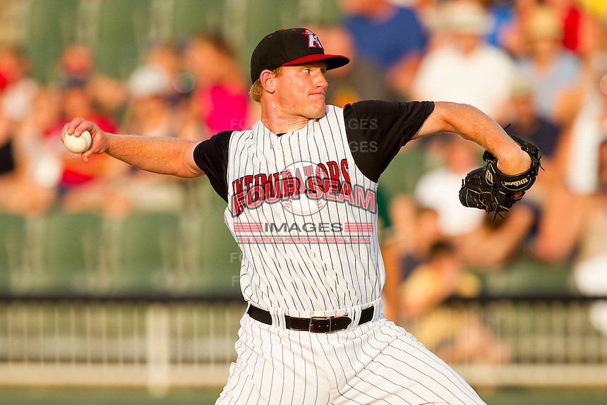 Kannapolis Intimidators starting pitcher Erik Johnson #30 in action against the Greensboro Grasshoppers at CMC-Northeast Stadium on July 4, 2012 in Kannapolis, North Carolina.  The Intimidators defeated the Grasshoppers 6-1.  (Brian Westerholt/Four Seam Images)