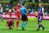 4th November 2017, nib Stadium, Perth, Australia; A-League football, Perth Glory versus Adelaide United; Perth Glory's Mitch Nichols argues after getting a yellow card for tripping Adelaide United captain Isaias