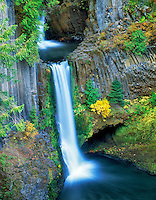 Tokatee Falls with fall color, Oregon