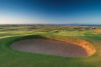 The East Lothian coastline and the Pentland Hills from Gullane No 1 Golf Course, Gullane, East Lothian