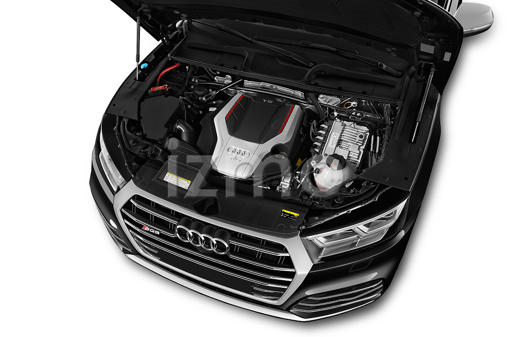 Car stock 2018 Audi SQ5 Premium Plus 5 Door SUV engine high angle detail view