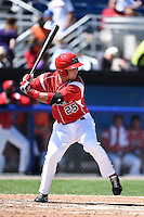Batavia Muckdogs third baseman Ryan Cranmer (25) at bat during a game against the Lowell Spinners on July 17, 2014 at Dwyer Stadium in Batavia, New York.  Batavia defeated Lowell 4-3.  (Mike Janes/Four Seam Images)