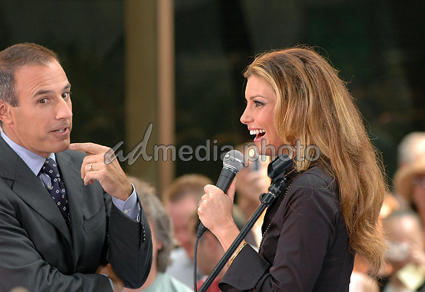 05 August 2005 - New York, New York -Matt Lauer talks to country superstar Faith Hill as she gets ready to perform in concert at the NBC Today Show at Rockefeller Center in Manhattan.  <br />