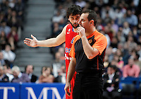 CSKA Moscow's Milos Teodosic have words with the referee during Euroleague 2012/2013 match.January 31,2013. (ALTERPHOTOS/Acero)