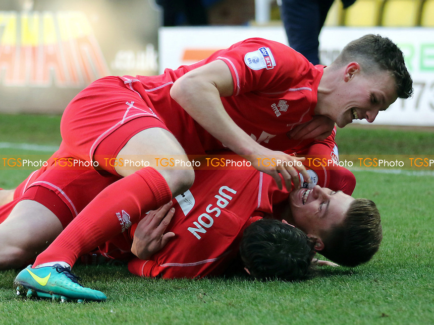 Harvey Barnes celebrates scoring MK Dons opening goal with Ed Upson and Paul Downing during Peterborough United vs MK Dons, Sky Bet EFL League 1 Football at London Road on 28th January 2017