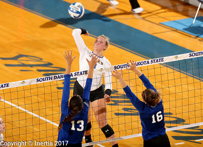 BROOKINGS, SD - SEPTEMBER 1: Ashlynn Smith #4 from South Dakota State University tries to get a kill past Sydney Haynes #13 and Emily Hansen #16 from CSU Bakersfield during their match Friday night at the Jackrabbit Invitational at Frost Arena in Brookings. (Photo by Dave Eggen/Inertia) (Photo by Dave Eggen/Inertia)