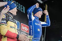 pure joy on the podium by race winner Yves Lampaert (BEL/QuickStep Floors)<br /> <br /> 72nd Dwars Door Vlaanderen (1.UWT)<br /> 1day race: Roeselare &rsaquo; Waregem BEL (203.4km)