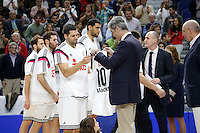 9 Felipe Reyes  of Real Madrid Baloncesto Memorial Service Fernando Martin died 30 years ago. Collect shirt and board his brother Antonio Martin both former players of Real Madrid<br /> 2014 November 30 Madrid Spain. ACB LIGA ENDESA 14/15, 9&ordm; Match, match played between Real Madrid Baloncesto vs CAI Zaragoza at Palacio de los deportes stadium.