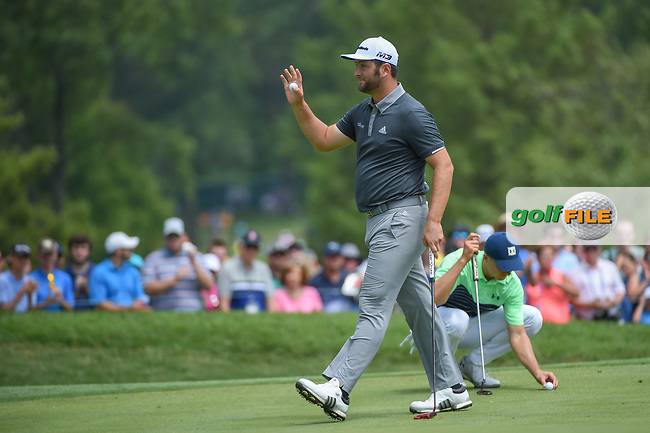 Jon Rahm (ESP) sinks his birdie putt on 1 during 1st round of the 100th PGA Championship at Bellerive Country Club, St. Louis, Missouri. 8/9/2018.<br /> Picture: Golffile | Ken Murray<br /> <br /> All photo usage must carry mandatory copyright credit (© Golffile | Ken Murray)