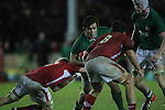 Ireland hooker George McGuigan takes on the Welsh defence..Under 20 Six Nations.Wales v Ireland.Eirias - Colwyn Bay.01.02.13.©Steve Pope
