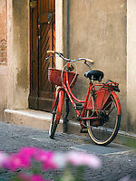Red bicycle , weathered wall and wooden door Chioggia Ital