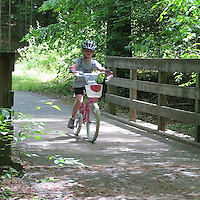 The relatively flat and wide trails at burke lake are perfect for novice and young riders.