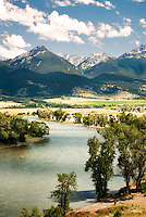 High water flows on the Yellowstone River rush through Paradise Valley near Livingston, Montana.