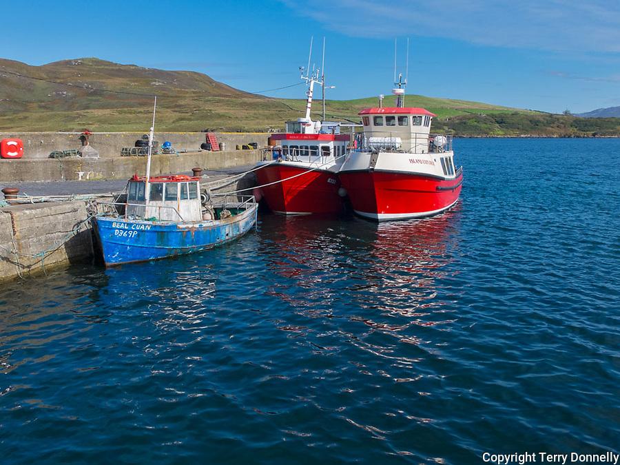 County Galway, Ireland:<br /> Fishing boats at Cleggan harbor in the Connemara region