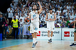 Real Madrid Sergio Llull and Felipe Reyes during Turkish Airlines Euroleague Quarter Finals 3rd match between Real Madrid and Panathinaikos at Wizink Center in Madrid, Spain. April 25, 2018. (ALTERPHOTOS/Borja B.Hojas)